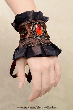 Steampunk Victorian Cuff Bracelet, Edwardian Style via etsy Viktorianischer Steampunk, Steampunk Wedding, Steampunk Clothing, Gothic Wedding, Steampunk Necklace, Steampunk Gloves, Steampunk Makeup, Costume Steampunk, Steampunk Outfits