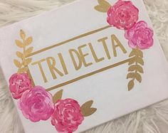 Tri Delta Sorority Canvas, delta delta delta, big little gift, bid day, dorm decor, sorority painting, flower painting, trendy art, 8x10
