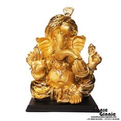 This Ginnie & Ginnie Exclusive Pagdi ganesh golden is a product from our Statue & Sculptures Collection. It is made of Polystone  and it got Marble look with Colored Electroplating finish on it. Its approx LxWxH is 16x13x18 inches. It is of approx 3670 grams. Unique Code of this product is M400458.18.GDE