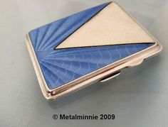 ART DECO  SILVER & BLUE GUILLOCHE ENAMEL CIGARETTE CASE. This works very well, I must look into guilloche techniques!