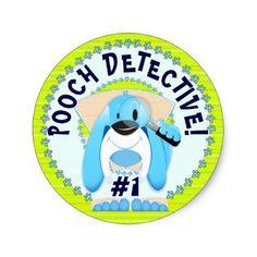 Dog Detective Happy Birthday Scavenger Hunt Party Classic Round Sticker - kids birthday gift idea anniversary jubilee presents