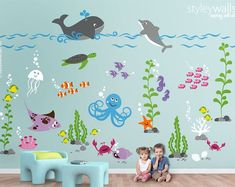 Under the Sea Wall Decal Fishes Wall Decal Ocean Wall Sticker Underwater Sea Life Creatures Wall Decal Aquarium Nursery Wall Decal Nautical Wall Decor, Kids Wall Decor, Kids Wall Murals, Nautical Nursery, Room Decor, Nursery Wall Decals, Vinyl Wall Decals, Sea Nursery, Wall Stickers