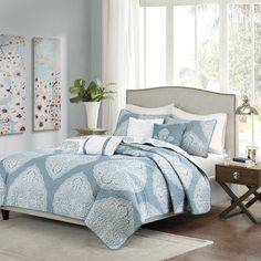 FREE SHIPPING! Shop Joss & Main for your 6-Piece Rayna Coverlet Set. The Rachel Coverlet Set by Madison Park brings an updated feel to your current decor. Its navy blue backdrop allows the white medallions to pop off of the top of bed.