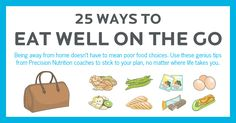 25 ways to eat well on the go. [Infographic] Game-changing tips to help you, or a client, stick to the plan. Nutrition Plans, Nutrition Education, Nutrition Tips, Nutrition Month, Nutrition Activities, Kids Nutrition, Precision Nutrition, Slim Fast, Lessons For Kids