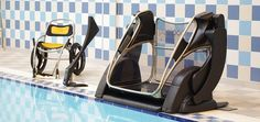 The Poolpod is a submersible platform lift which enables disabled people or people with restricted mobility to safely access public swimming pools in a dgnified manner. Available in the UK from Dolphin Lifts.