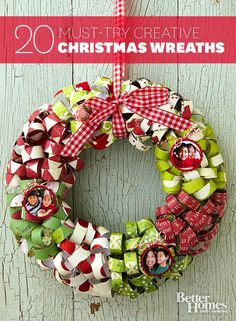 20 pretty homemade Christmas wreaths Better Homes & Garden http://www.pinterest.com/bhg/holiday-decorating-ideas/?auto_follow=1