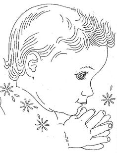 Vintage Hand Embroidery PATTERN PDF File Design 832 Baby Faces | Etsy