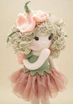 Amigurumi crochet DOLL Gorgeous Sweet Pea flower fairy with