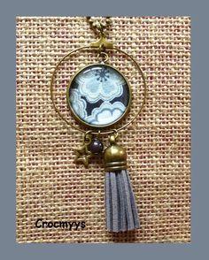 Sautoir rétro créole liberty toria noir : Collier par crocmyys