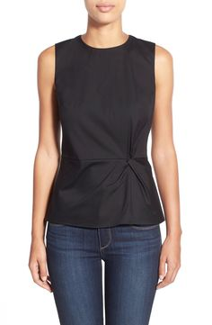 Free shipping and returns on Halogen® Sleeveless Twist Detail Top (Regular & Petite) at Nordstrom.com. An inset waist and a deft twist detail at the front create hourglass shaping for a sleeveless woven top in a lightweight stretch-cotton blend.
