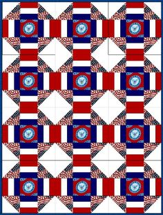 Quilt kit featuring the Navy branch of the United States military. Quilt kit includes pre-cut fabric for the quilt blocks with fussy cut center square, a solid red, solid white, navy blue along and a