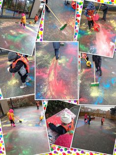 Large scale colour mixing in the rain with powder paints. Rainy Day Activities, Color Activities, Creative Activities, Preschool Activities, Eyfs Outdoor Area, Outdoor Art, Outdoor Play, Outdoor Ideas, Preschool Colors