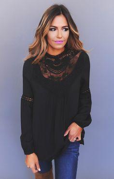 Crochet/Lace Neckline Blouse- Black - Dottie Couture Boutique