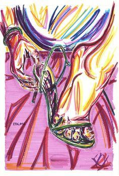 """sul pouf"", marking pen and watercolor marking pen, 140lb/300gsm - 46x31cm paper, 2016 author: ernesto maria giuffre' #painting #pen #art #woman #feet #heels"