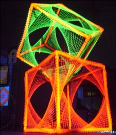 UV reactive string art cube