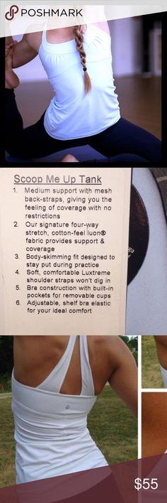 Lululemon scoop me up tank white yoga top 12 xl l White lululemon scoop me up tank. Like new with pads size 12 xl/l lululemon athletica Tops Tank Tops