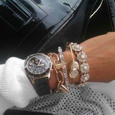 #black #gold #silver #rhinestones #watch #bracelets #spikes #chains