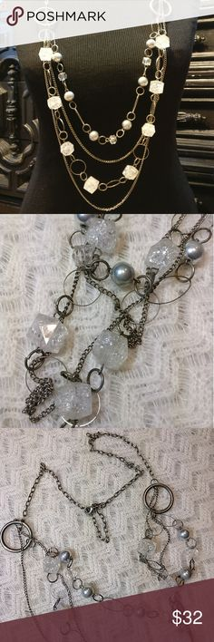 Vintage Cracked Ice Faceted Lucite Silver Necklace In great condition. Faceted cracked ice Lucite beads From 60s. Multi-strand. Adjustable. Jewelry Necklaces
