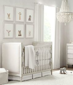 Nursery Gray Overall set the tone. for a nursery that suits boys' and girls' rooms equally well, choose furniture in a silvery grey palette, then accent the pieces with tonal bedding, natural lighting and understated décor. Baby Nursery Art, Baby Nursery Neutral, Baby Bedroom, Baby Boy Rooms, Nursery Design, Baby Room Decor, Nursery Room, Elegant Baby Nursery, Monkey Nursery