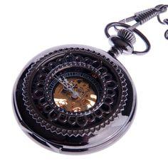 Skeleton Pocket Watch Mechanical Hand Wind Roman Numeral Half Hunter Vintage Steampunk Look Cosplay- PW33 - http://steampunkvapemod.com/skeleton-pocket-watch-mechanical-hand-wind-roman-numeral-half-hunter-vintage-steampunk-look-cosplay-pw33/