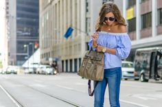 Striped off-the-shoulder top with wide leg denim.