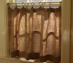 Make Burlap Cafe Curtains  http://www.theprairiehomestead.com/2012/11/how-to-make-burlap-cafe-curtains-guest-post.html?utm_source=feedburner_medium=email_campaign=Feed%3A+ThePrairieHomestead+%28The+Prairie+Homestead%29#