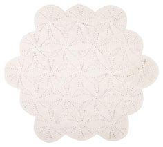 Large crochet floor mat - white