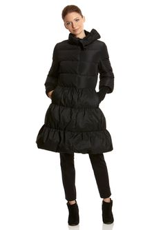 RED VALENTINO Bow Collar A-Line Puffer Coat