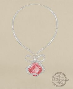 This sketch depicts the Tiffany Anniversary Morganite necklace, which was inspired by the famous white ribbon crowning the Tiffany Blue Box.
