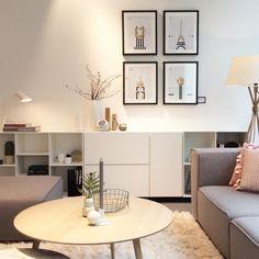 Scandinavian interior design   light cozy interior BoConcept   grey sectional modern sofa  white comy rug    @boconceptberlin