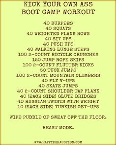A Hard Core Workout Just For You A boot camp workout you can do in the comfort of your own home!