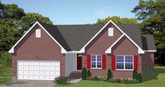 House Plan 40629   Traditional Plan with 1295 Sq. Ft., 3 Bedrooms, 2 Bathrooms, 2 Car Garage