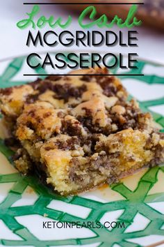 The popular McDonald's McGriddle breakfast sandwich is now a low carb breakfast casserole! This keto McGriddle casserole combines gluten free pancakes, sausage, and maple syrup for a delicious twist on the fast food classic. 3.8 NET CARBS