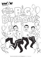 Kidtoons Wiggles Big Birthday Coloring Sheet.