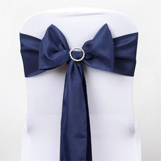 5 PCS x NAVY BLUE Polyester Chair Sashes Tie Bows Catering Wedding Party Decorations