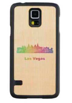 Rainbow Las Vegas skyline Maple Galaxy S5 Case $49.65 *** Rainbow city skyline of Las Vegas  Nevada. - Samsung Galaxy S5 wood case