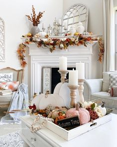 This white tray is a home decor staple in my home. I use it for almost every season because the white goes with everything, plus it's the perfect size for most coffee tables. You can find it here. Coffee Table Styling, Decorating Coffee Tables, Fall Home Decor, Autumn Home, Fireplace Garland, Thanksgiving Table Settings, Thanksgiving Ideas, Holiday Ideas, Holiday Decor