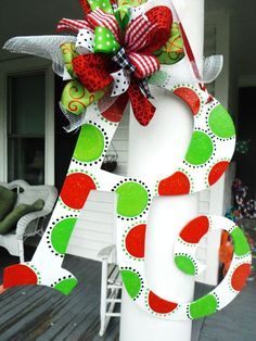 DIY::Plain letter from Hobby Lobby....Painted With Polka Dots + Colorful Big Bright Bow !!