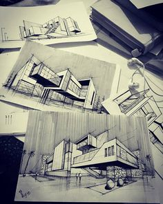 Let's start off the year with an amazing architecture project signed by one of Architectural Digest's Top Olson Kundig. Infusing a rugged-meets-refined aesthetic with a laid-back Pacific Northwes Architecture Concept Drawings, Architecture Sketchbook, Architecture Plan, Amazing Architecture, Building Sketch, Archi Design, Layout, Sketch Drawing, Sketches