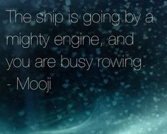 The ship is going by a mighty engine, and you are busy rowing. - Mooji