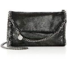 Stella McCartney Falabella Metallic Faux Suede Chain Clutch (€800) ❤ liked on Polyvore featuring bags, handbags, clutches, apparel & accessories, ruthenium, stella mccartney, stella mccartney purse, metallic purse, chain purse and stella mccartney handbags
