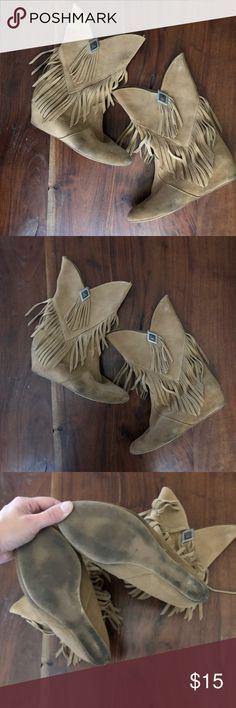 Suede Boho Tassel Boots Cute boho vintage look and feel, fits a size 8 or 8.5...tan color with some wear but it really just adds to the look. Cute with skinny jeans, not to tight on the legs. No heel. About 11 inches high Obsession Rules Shoes Ankle Boots & Booties