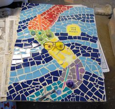 #Litter #Art. Cool mosaic with upcycled beach litter by @Ash E.