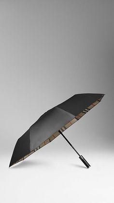 Check-Lined Folding Umbrella | Burberry