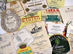 24 Vintage Italian Wine Labels Authentic by autena on Etsy, $18.00