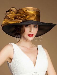 Women s Vintage Hat Organza Flower Feather Wide Brim Retro Hat Halloween 4a7f1253417c