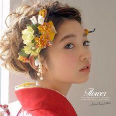 NEW Japanese HAIR Accessories Set of 3 Kimono Yukata Kanzashi Maiko yellow Flower Hair Accessories, Head Accessories, Bridal Headpieces, Bridal Hair, Wedding Kimono, Hair Arrange, Japanese Hairstyle, Kanzashi Flowers, Japanese Kimono