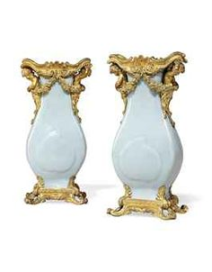 A PAIR OF LATE LOUIS XV ORMOLU-MOUNTED CHINESE 'CLAIR DE LUNE' PORCELAIN VASES