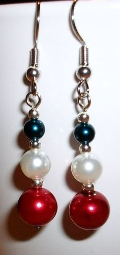 Red  White and Blue beaded Earrings by mwadsworth on Etsy, $1.25