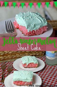 Jello Watermelon Sheet Cake is the perfect make and take to all your summer events. The best part? You just need one bowl! New Year's Desserts, Summer Dessert Recipes, Desserts For A Crowd, Delicious Desserts, Yummy Food, Desert Recipes, Dessert Ideas, Jello Cake, Watermelon Cake